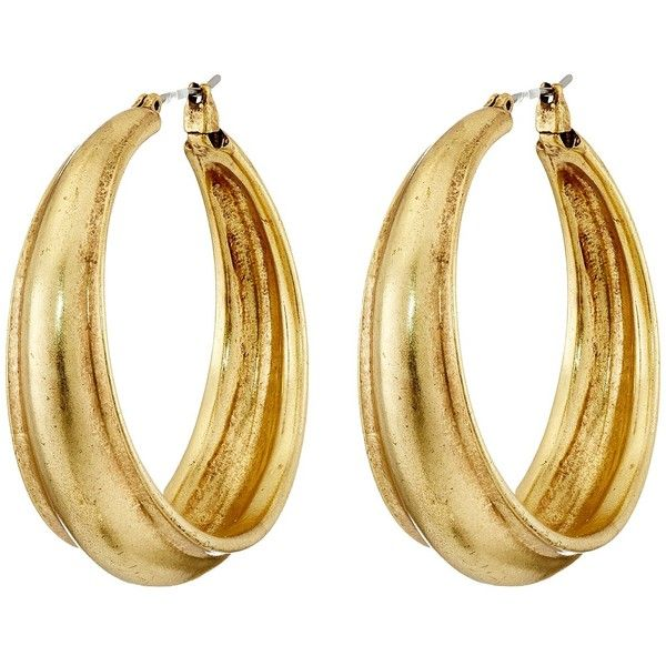 Lucky Brand Hoop Earrings ($29) ❤ liked on Polyvore featuring jewelry, earrings, accessories, gold colored earrings, lucky brand jewellery, hoop earrings, earring jewelry and gold tone earrings