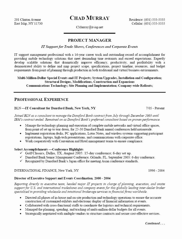 Technical Program Manager Resume Best Of Data Center