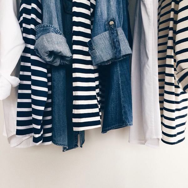 Literally what my closet looks like. You can never have too many striped or denim shirts