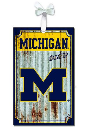 Michigan Wolverines Corrugated Metal Team Ornament