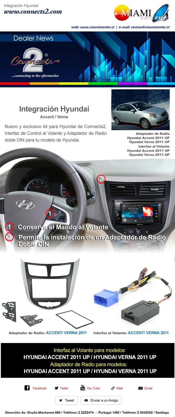 Integración HYUNDAI  http://www.miamicenter.cl/hyundai/radio-hyundai-accent.html