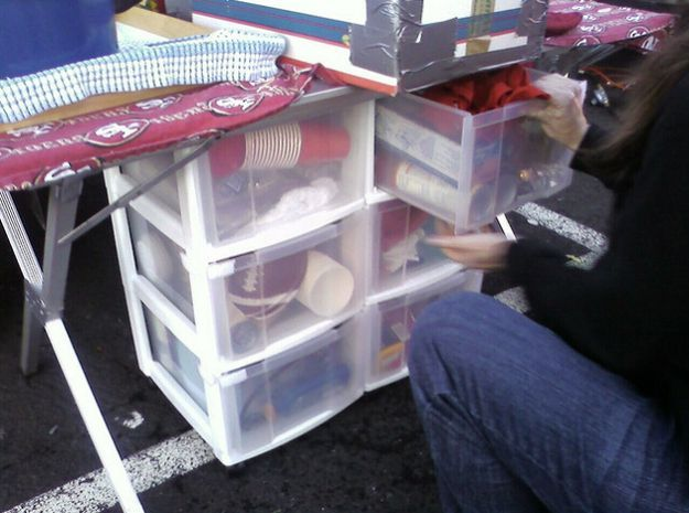 Bring a pre-packed set of drawers so everything is handy and organized while you're cooking. | 41 Tailgating Tips That Are Borderline Genius