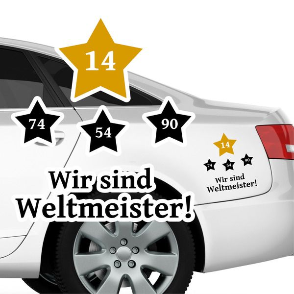 Epic Autoaufkleber Wir sind Weltmeister Fu ball Sterne von wandtattoo loft via dawanda