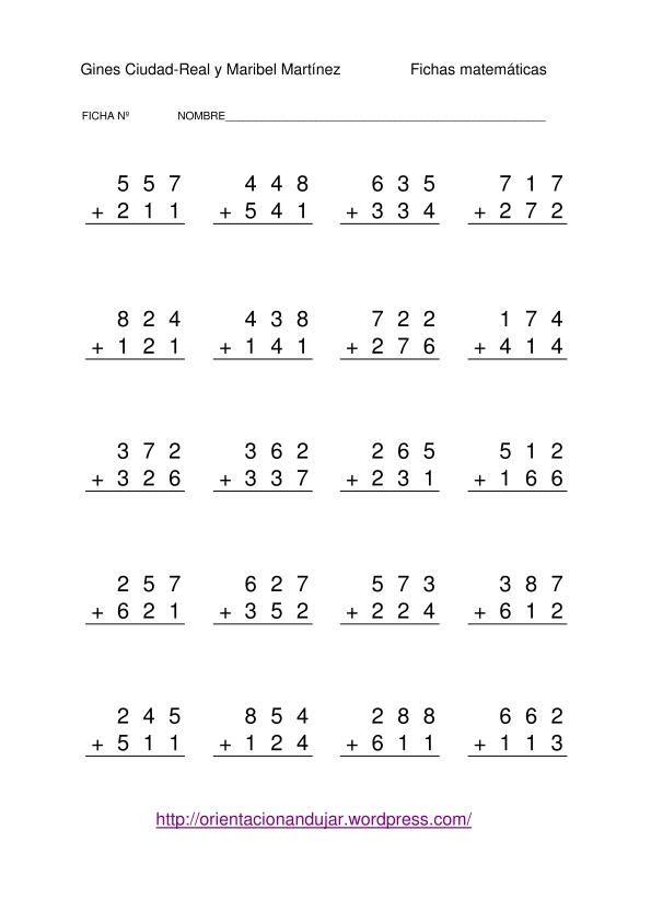 fichas para trabajar las sumas sin llevada con números de tres cifras coleccionn de actividades