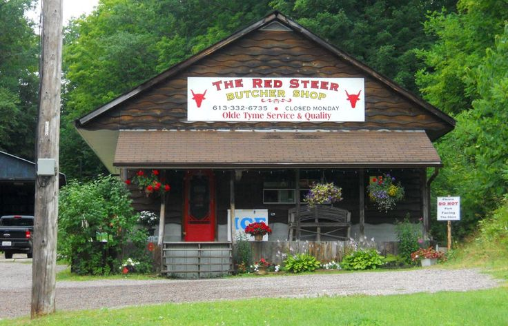 Red Steer Butcher shop, located just south of Bancroft in L'Amable. The Red Steer is a traditional butcher's shop run by Duane Wingett and Julie Main.  You can get a variety of sausages  home-made on site, as well as gourmet stuffed chicken breasts,  London broils, marinated flat chicken, stuffed pork tenderloins and kebabs.
