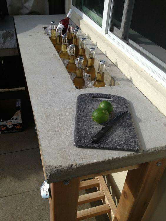 Outdoor Bar   Concrete Counter Top With Ice Trough