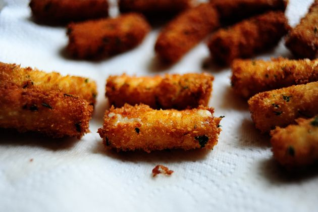 Panko mozzarello sticks...use GF panco breadcrumbs & GF four (xanthan gum is not necessary, if already included, that is fine)