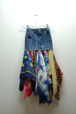 denim,boho,hippie,upcycled clothing skirt. ...this would be a cool thing to do with a bunch of bandanas