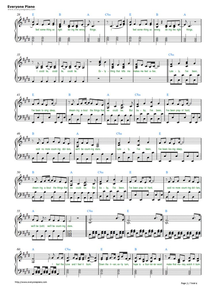 Free Counting Stars-OneRepublic Sheet Music Preview 2 : R5 Songs Chords : Pinterest : Music and ...