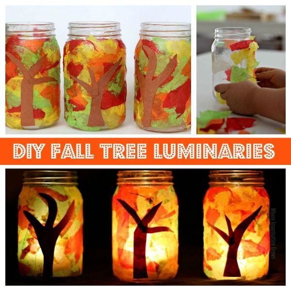 Mason jar fall luminaries craft that kids can make! A simple and fun fall themed craft for preschoolers that explores leaves and treas in autumn!