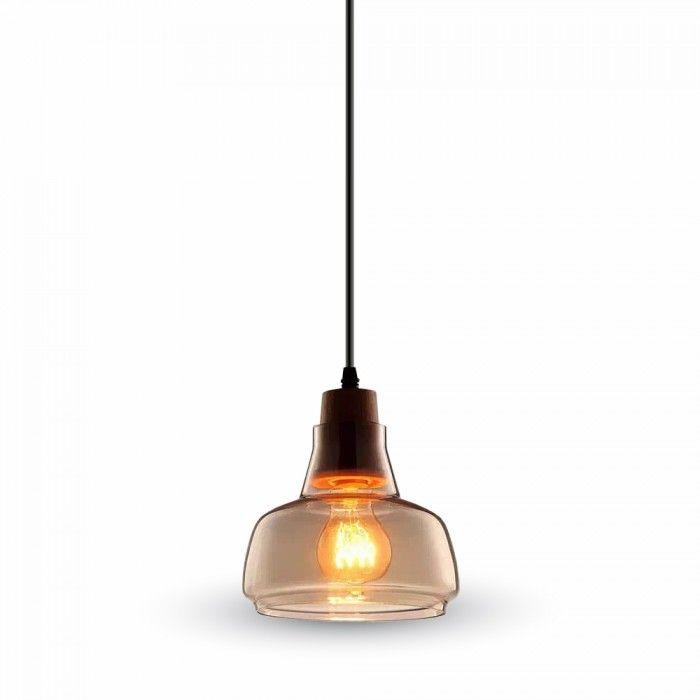 Φωτιστικό+Οροφής+Κρεμαστό+γυαλί+καί+ξύλο+E27+διάφανο+VT-7170+V-TAC+Χαρακτηριστικά:++  Κωδικός:+3819 Ντουί:Ε27Ύψος-+μήκος+καλωδίου+:+100cm Διάμετρος/Πλάτος:Ø165+x+220mm Τύπος+Λαμπτήρα:+E27+60watt+ή+15-20-25+watt+οικονομίας+ή+7,10,13,14,17,watt+led Τύπος+Σύνδεσης+:Κλέμμα+ Ρεύμα+Τροφοδοσίας+(V)+:220-240V Χρώμα+:Διάφανο Φωτιστικό+από+γυαλί+καί+ξύλο Στην+τιμή+δεν+συμπεριλαμβάνεται+o+λαμπτήρας.     Προτεινόμενα++προϊόντα+: Λαμπτήρας+Led+e27+10+Watt+A60+Thermoplastic+V-TAC+ΘΕΡΜΟ+ΛΕΥ...