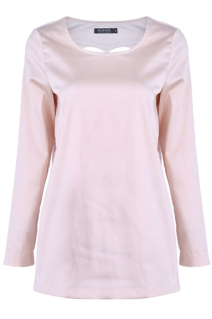 Apricot Heart-Pattern Cut-out Blouse. Description Apricot blouse, featuring round neck, long sleeves, heart pattern cut out on the back, in loose style. Fabric Dacron and Cotton. Washing 40 degree machine wash , low iron. #Romwe