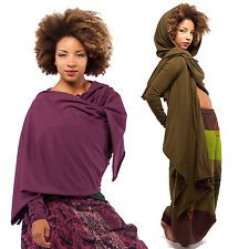 HOODED WRAP SLEEVED PONCHO TOP hippy psy trance plus size boho wicca pagan