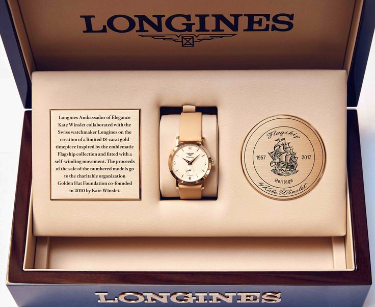 Longines Ambassador of Elegance and Academy Award winning actress, Kate Winslet, has collaborated with Longines on the creation of 5 limited timepieces inspired by the emblematic Flagship Collection. Fitted with a self-winding movement, these exceptional 18-carat gold numbered pieces are being auctioned off to benefit Kate Winslet's charitable organisation, The Golden Hat Foundation, whose mission is to change the way people on the autism spectrum are perceived.
