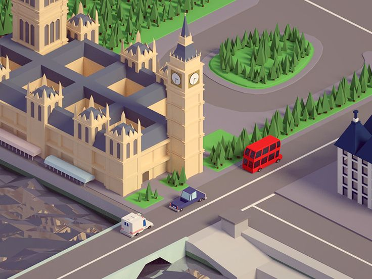 Low poly Big Ben by Mohamed Chahin #Design Popular #Dribbble #shots