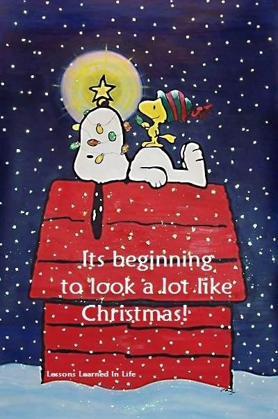 It's Beginning To Look A Lot Like Christmas - Snoopy On Top Of Doghouse In The Snow With Woodstock Wearing Winter Cap And Sitting On Top Of Him