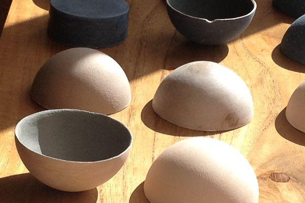 'elemental' series of slip bowls by Caroline McGuigan