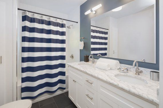 Navy Blue And White Stripes Shower Curtains Shower Decor