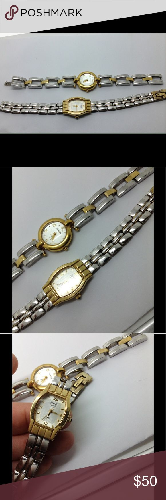 """Ann Klein & Fossil two tone 7"""" watches That's all I know about the watches. I don't know if they need to be repaired or just in need of a new battery. The Ann Klein link band needs to be repaired. Jewelry Bracelets"""