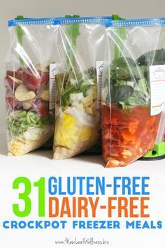 Kelly from New Leaf Wellness has put together a list of31 gluten-free, dairy-free crockpot freezer meals. You can download her free printable that includes all of the recipes and a grocery list.
