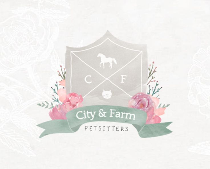 Crest logo design by Kitten Lane - watercolor, florals, ribbon, hand drawn, soft, muted color palette, pink, green, cream, fawn colour scheme