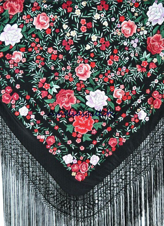 De la mano flamenco bordado de seda español por Ameliasgallery