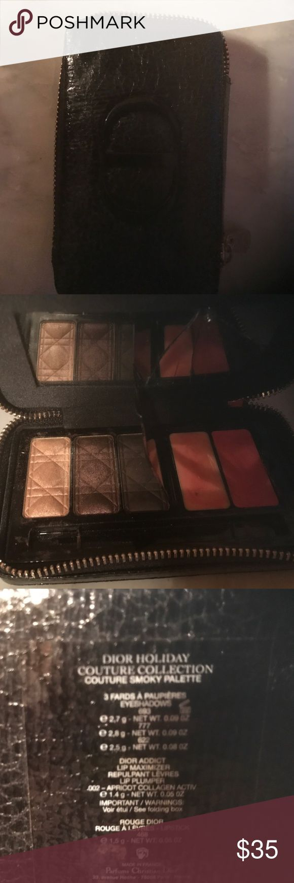 Dior Holiday Couture Palette Smoked Palette. 3 shadows and 2 lip glosses. Used maybe 3 times. Mirror cracked in my vanity. Zippers closed. Makeup Eyeshadow