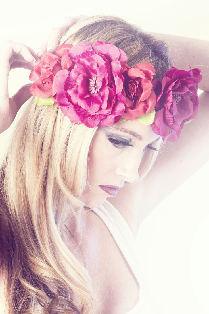 Beauty make-up look with floral headpiece.   Photographer: Daniel West  Model: Charlene Donaldson