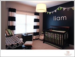 navy accent wall. This is just what I had in mine!!  Cute!