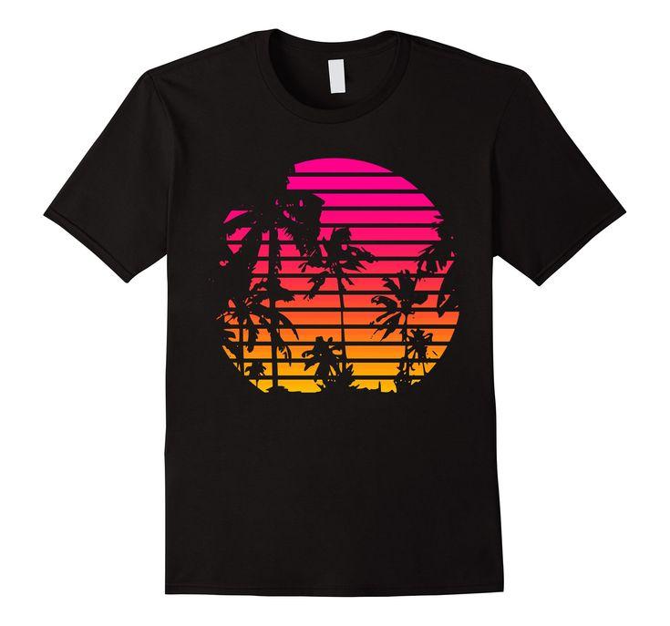 Amazon.com: 80's Tropical Sunset T-shirt: Clothing