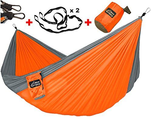 SALE  50 OFF NEW Launch  NEW TERRITORY Double Deluxe Camping Hammock Orange  Grey Lightweight Portable Nylon Parachute Hammock HD Hammock Straps  Steel Carabiners Included -- Want to know more, click on the image.(This is an Amazon affiliate link and I receive a commission for the sales)