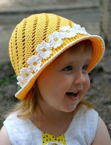 Encantador sombrero de niña al crochet - con esquema | Crochet y dos agujas
