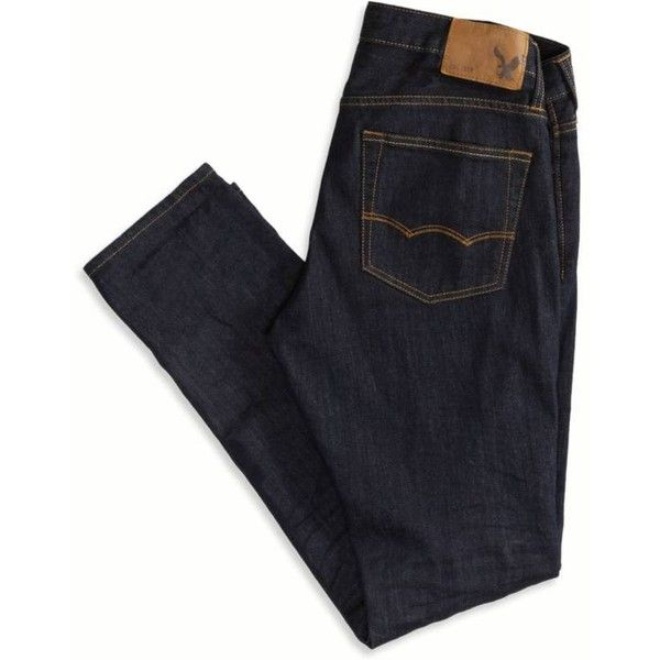 American Eagle Outfitters Skinny Jean (60 CAD) ❤ liked on Polyvore featuring men's fashion, men's clothing, men's jeans, pants, bottoms, jeans, men clothes, mens low rise skinny jeans, mens super skinny jeans and mens dark wash jeans