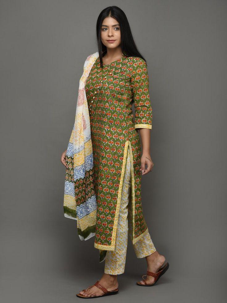 Green Yellow Hand Block Printed Kurta and Pants with Chiffon Dupatta - Set of 3