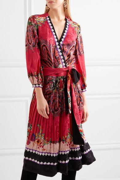 Etro - Printed Jacquard Wrap Dress - Pink - IT42