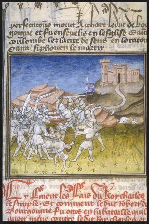 la bataille de Soissons en 923: Les Robertiens s'apprêtent à livrer le combat de l'ultima horora lorsque l'arrivée inopinée des chefs des comtés entre Seine et Flandre, menés par HERBERT, beau frère de Robert 1°, permet une charge de délivrance. Le regain de cette 2° phase oblige les Lotharingiens à une prudente retraite.