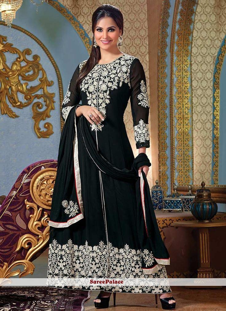 Lara Dutta Style Black Shade Faux Georgette Anarkali Suit