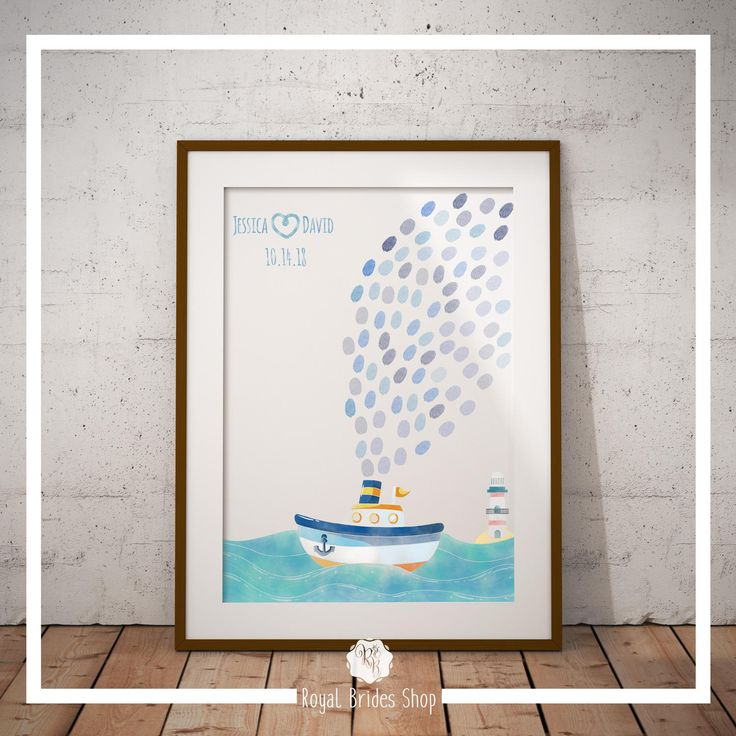 Sailing Ship Wedding Guest Book Thumbprint Guestbook Fingerprint Guest Book - Smoking Ship - Guest Book And Ink Pad Guest Book Alternative