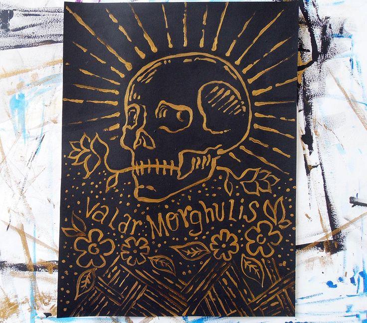 Pintura con acrílico.  #art #artwork #artist #handmade #arte #skull  #gallery #galleryart #artdaily #valarmorghulis #got