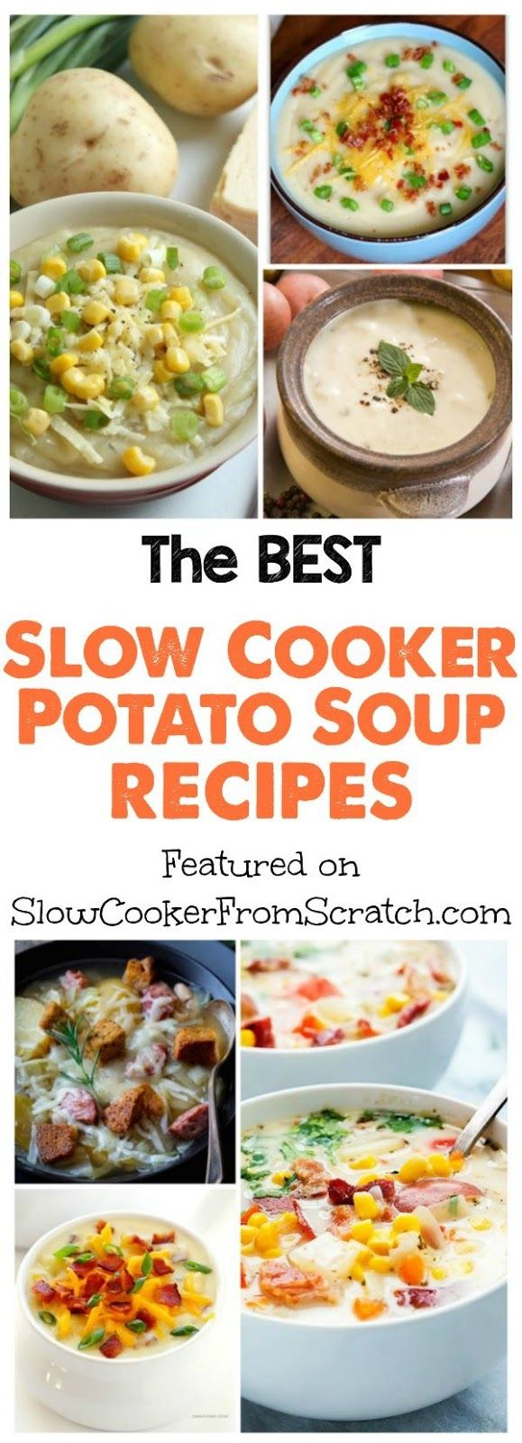 Potato Soup has to be the ultimate cold weather comfort food, and slow cooker potato soup is an easy and delicous dinner option when it's cold outside! Here are THE BEST Slow Cooker Potato Soup Recipes from food bloggers all around the web! [featured on SlowCookerFromScratch.com]