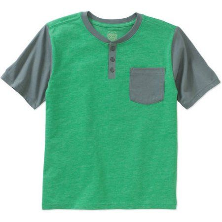 Faded Glory Boys' Short-Sleeve Micro Stripe Henley Tee, Size: 6/7, Green