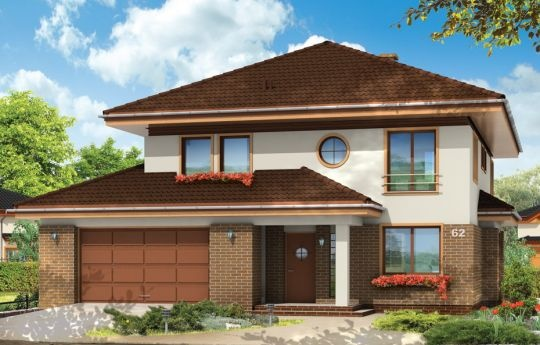 Projekt Sonet to elegancki piętrowy dom, o prostokątnej bryle, z wciętym z boku garażem przekrytym daszkiem. Podział elewacji na poziome pasy obniża wizualnie budynek, przez co wydaje się bliższy ludzkiej skali. Podcienie - wejściowy i ogrodowy, wykusz jadalni, okrągłe okno w elewacji frontowej - urozmaicają sylwetkę domu. Wnętrze domu zaprojektowano, dzieląc willę na przestrzeń dzienną na parterze i sypialnie na piętrze.