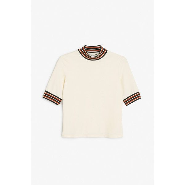 Monki Fitted top (8.66 CAD) ❤ liked on Polyvore featuring tops, creme fresh, elbow sleeve tops, white fitted top, white tops, fitted tops and ribbed top