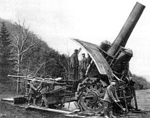 Big Bertha was a large howitzer used by the Germans in WW1. It could hurl a 1 ton shell 8 miles. 12 were made during the war and they destroyed many French forts, terrifying the French when they fired. The gun was named after the heiress to the Krupp fortune. It weighed 43 tons with its tractor and required many men and much time to move and prepare. Two survived the war. One came to the US and was melted down in 1950; the other was used by the Germans in WW2. No one knows what became of it.