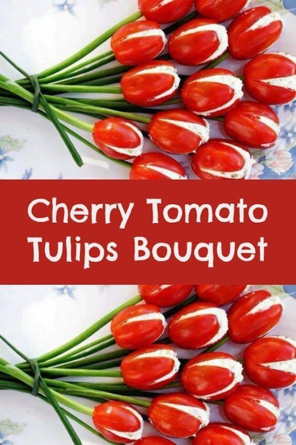 Cherry Tomato Tulips Bouquet. The perfect, fun food appetizer for Valentine's Day. #RedSunFarms