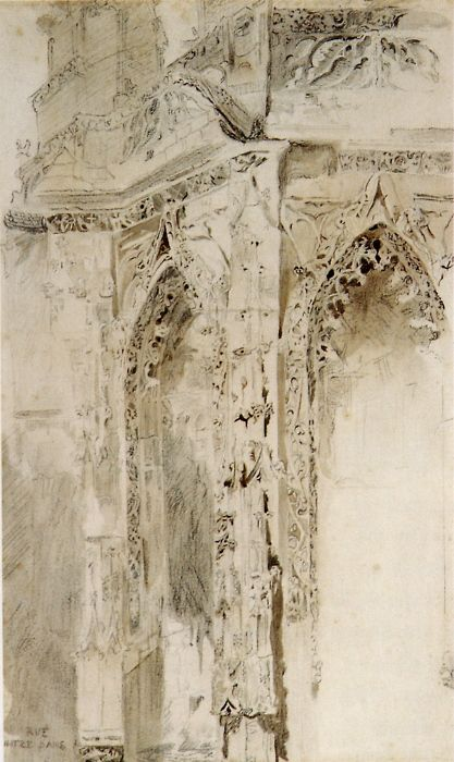 John Ruskin, Caen, St Sauveur, 1848. Pencil and wash, 44.8 x 27.3 cm Source: Robert Hewison, Ruskin, Turner and the Pre-Raphaelites, 2000.