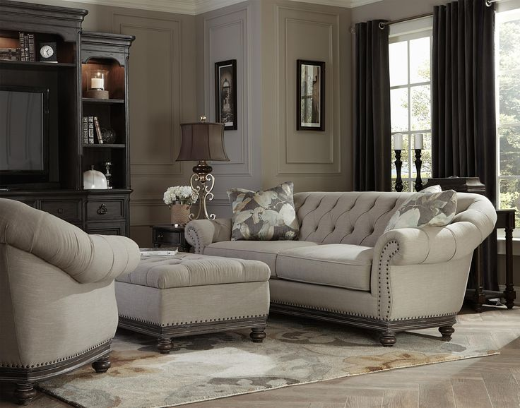Victoria Traditional Button Tufted Sofa With Flared Arms