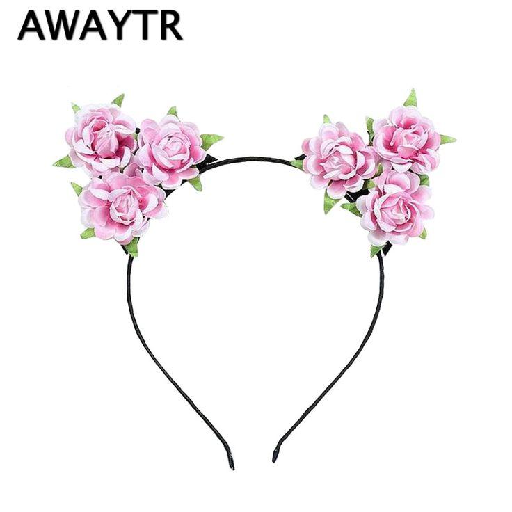 AWAYTR Girls Hair Accessories Flower Headband 2017 White Red Rose Flower Cat Ears Hairband Kids Handmade Cloth Floral Hair Band