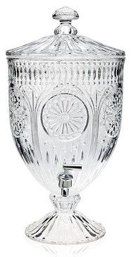 Medallion Crystal Footed Beverage Dispenser traditional-cups-and-glassware
