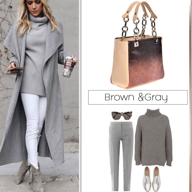 Gray and brown can easily be paired if you have a practical and chic handbag like the Grace model, made of pony leather @comenziwildinga
